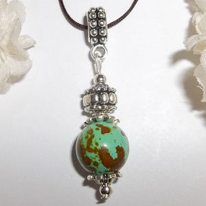 Necklace Green Turquoise & Brown Adjustable 4801